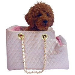 Kate Carrier in Quilted Pearl Pink with Chain Straps